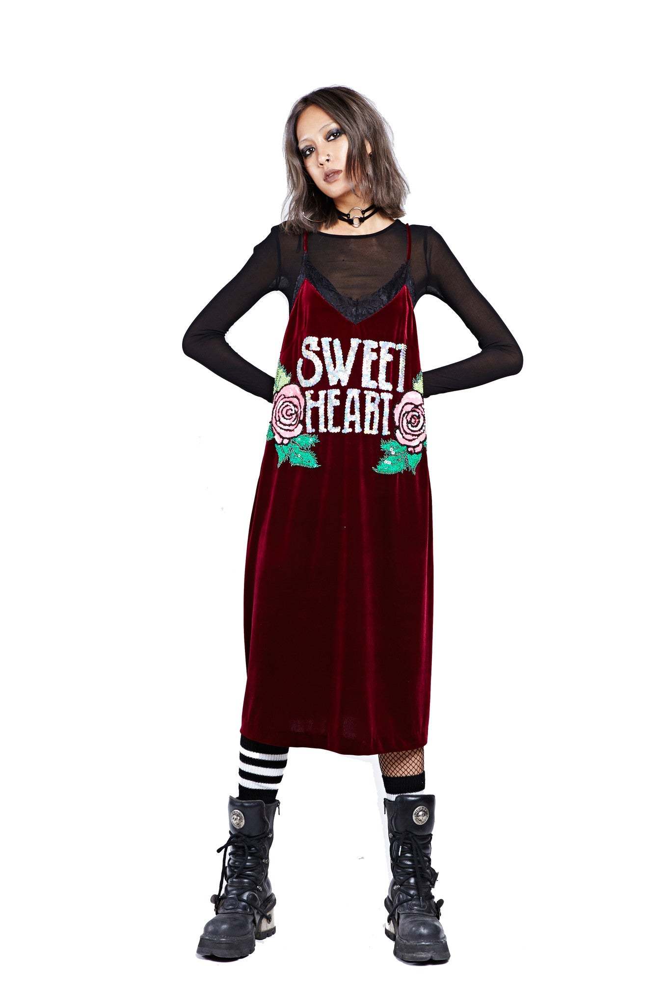 Sweet Heart Dress - Maroon - I LOVE DIY by Panida