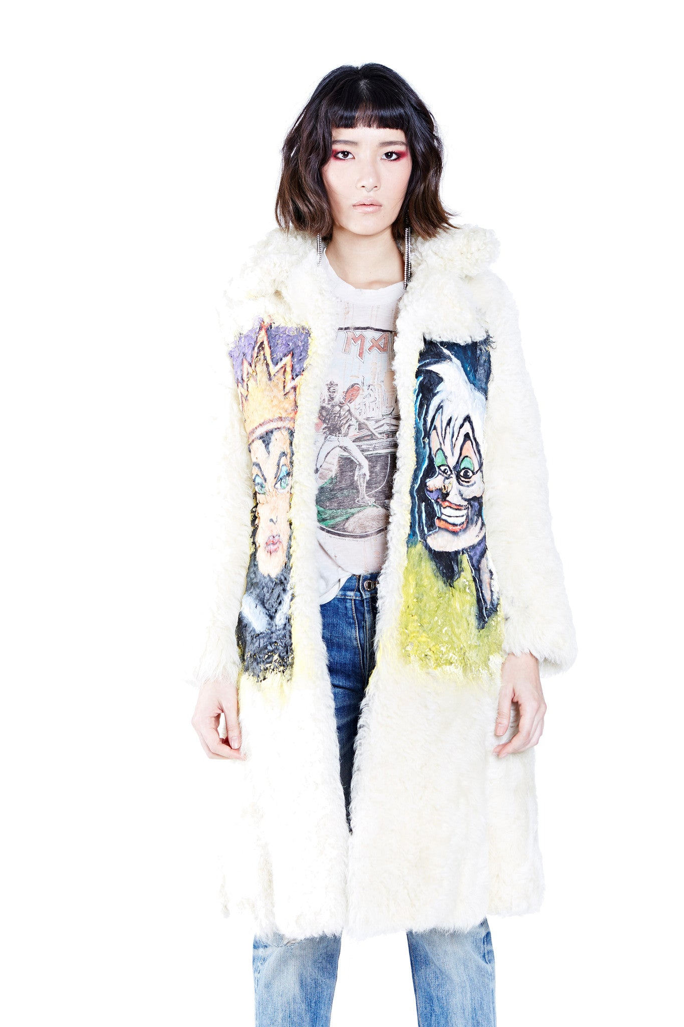 Villains Hand Painted Fur Coat - White