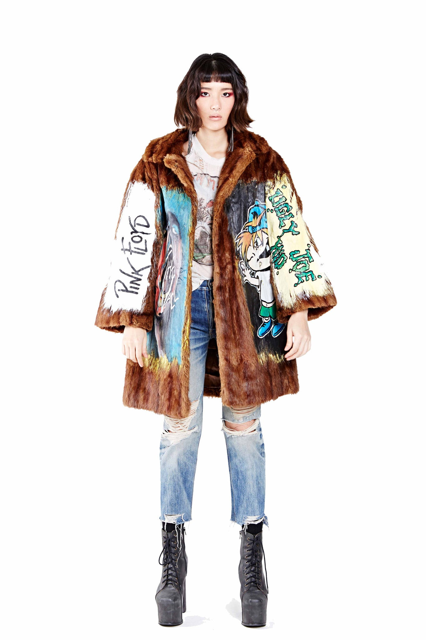 Rock n' Roll Hand Painted Fur Coat Ver. 2 - Brown
