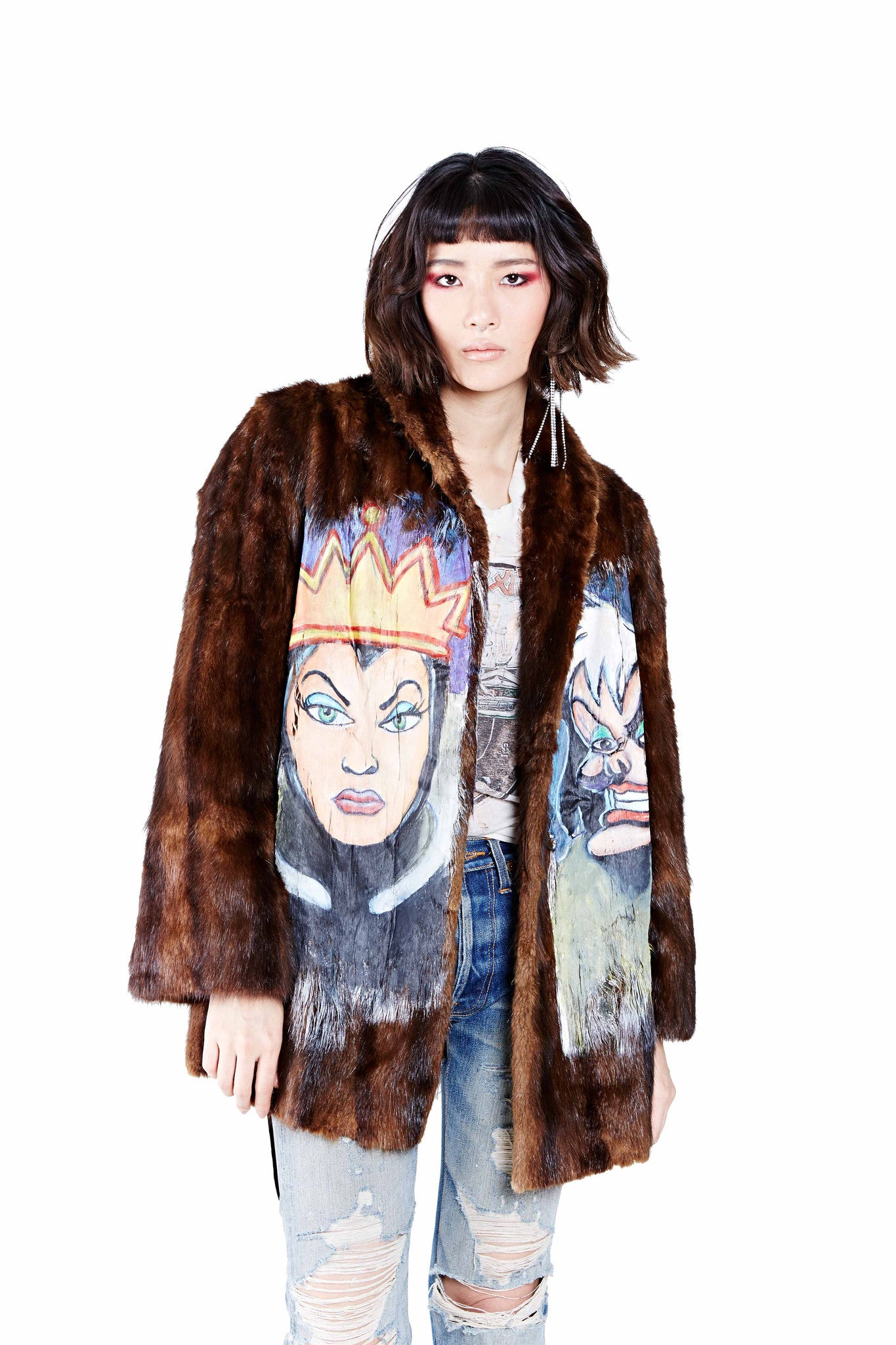 Villains Hand Painted Fur Coat - Dark Brown
