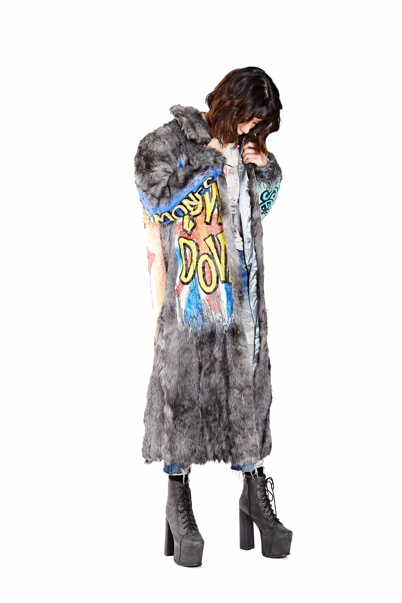 Rock n' Roll Hand Painted Fur Coat - Gray Long