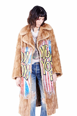 Rock n' Roll Hand Painted Fur Coat Ver. 3 - Black