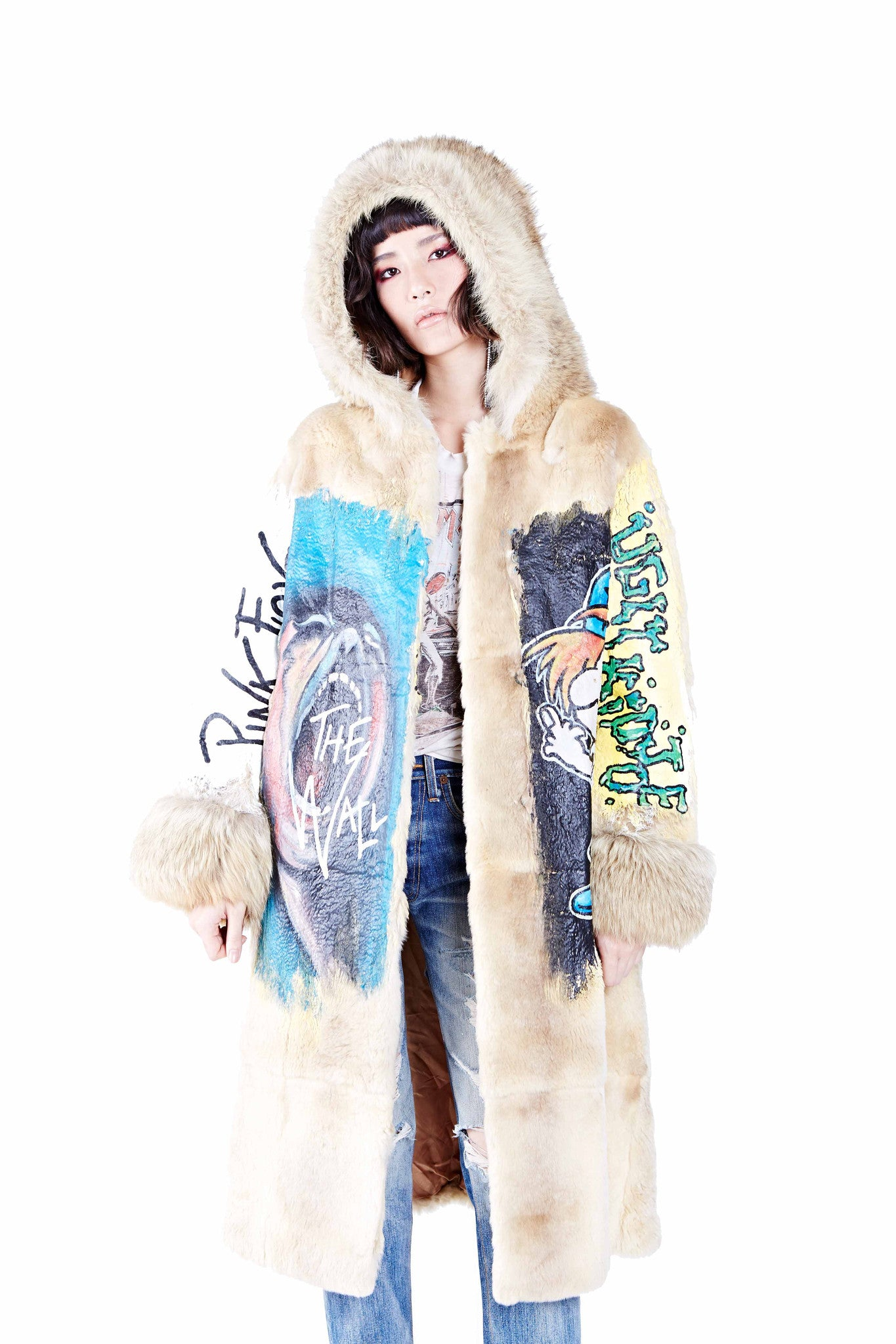 Rock n' Roll Hand Painted Fur Coat Ver. 2 - Tan