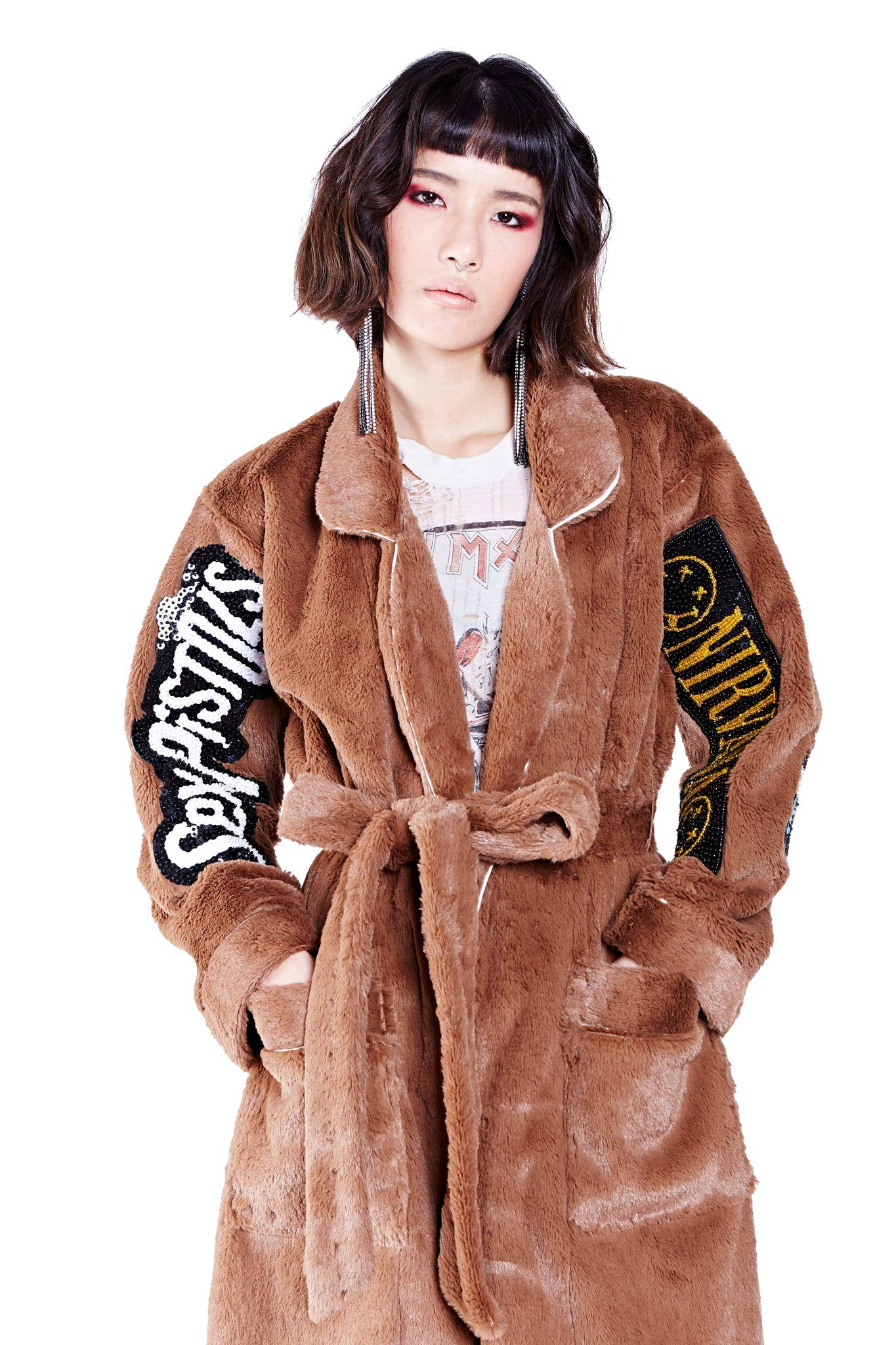 Patched Fur Bath Robe - Brown