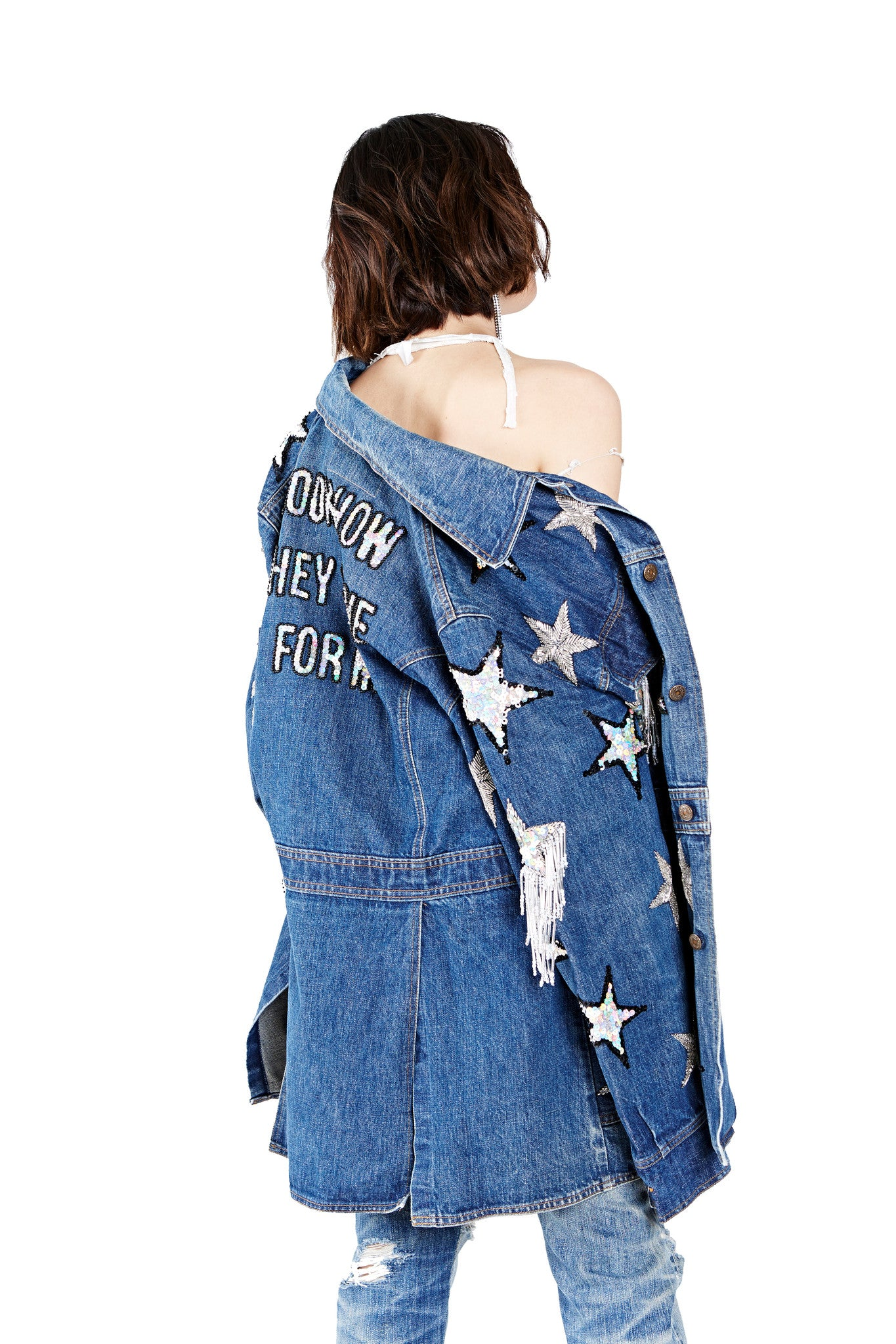 Shine for Me Denim Jacket - I LOVE DIY by Panida