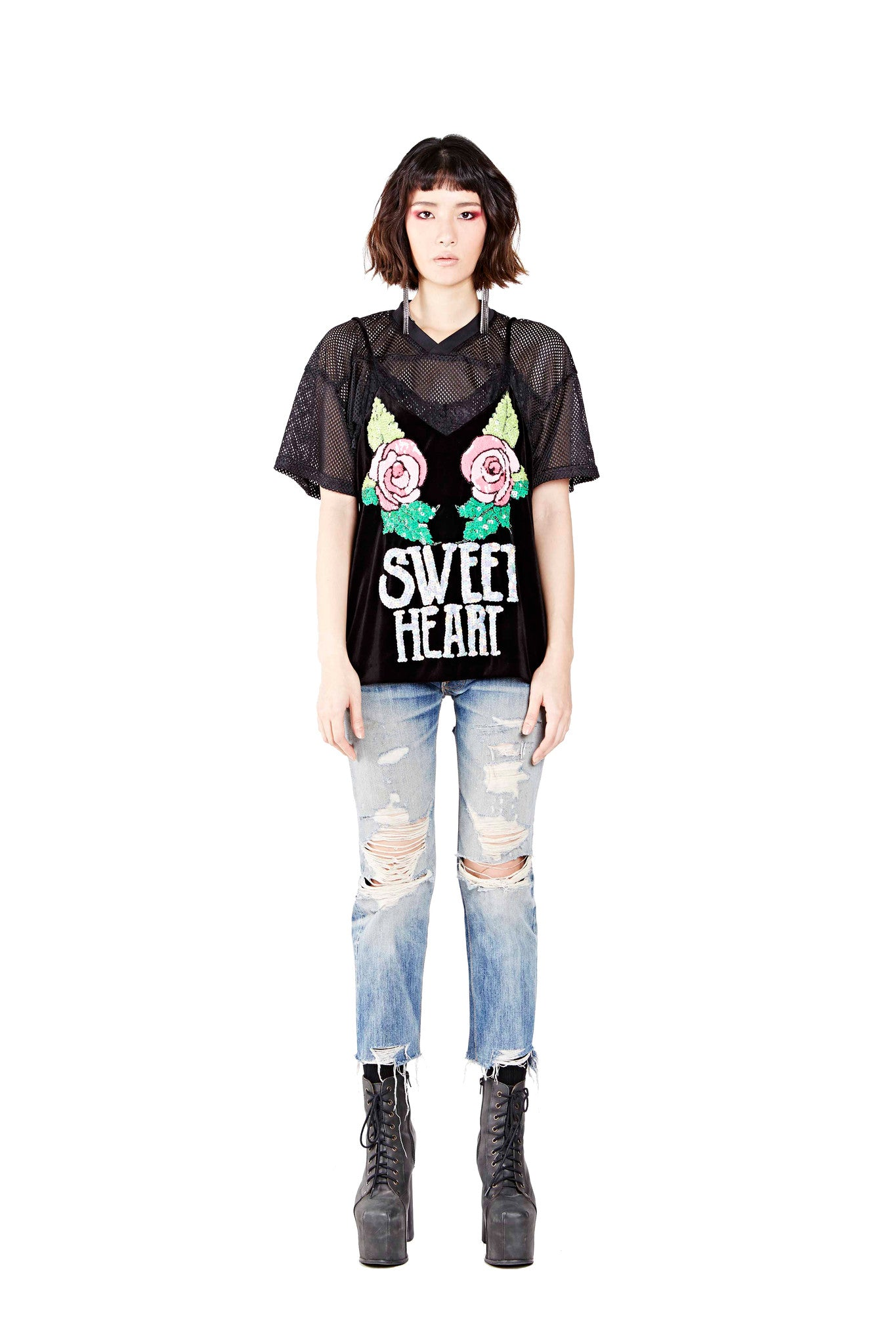 Sweet Heart Top - Black - I LOVE DIY by Panida