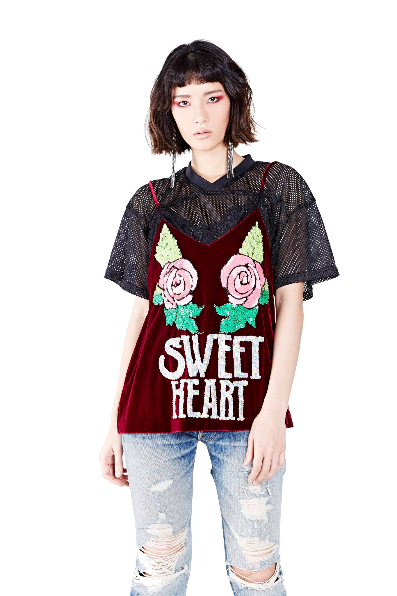Sweet Heart Top - Maroon - I LOVE DIY by Panida