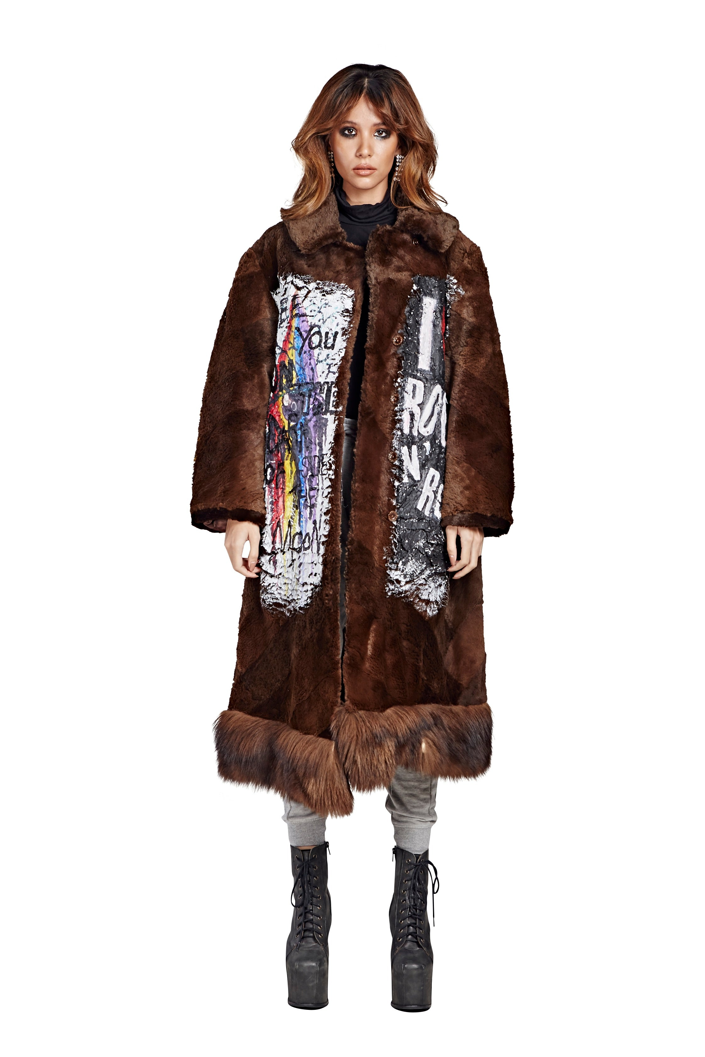 Rock N Roll Fur Coat - Brown Long 2 2017