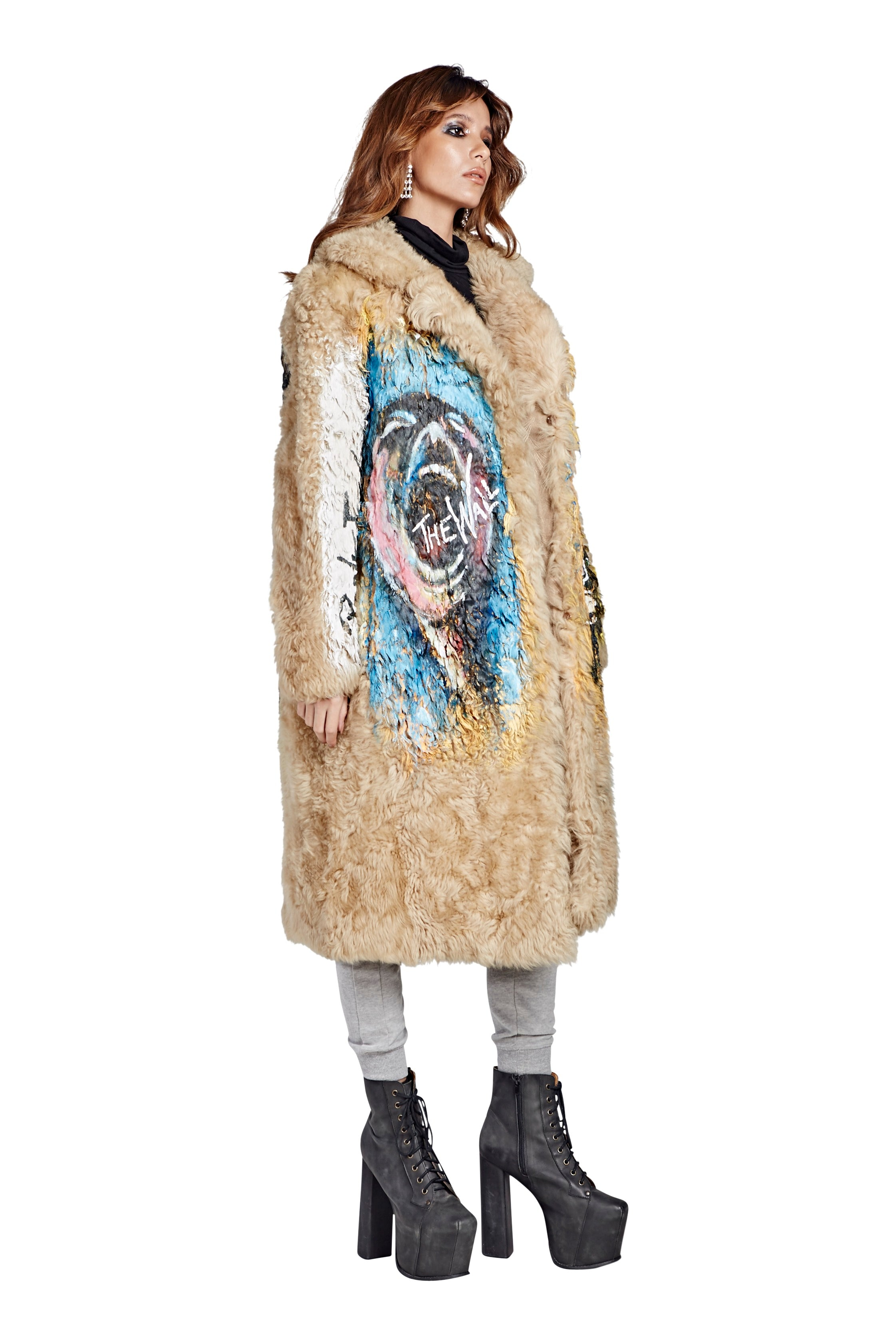 Punk Rock Fur Coat - Long Light Brown 2017