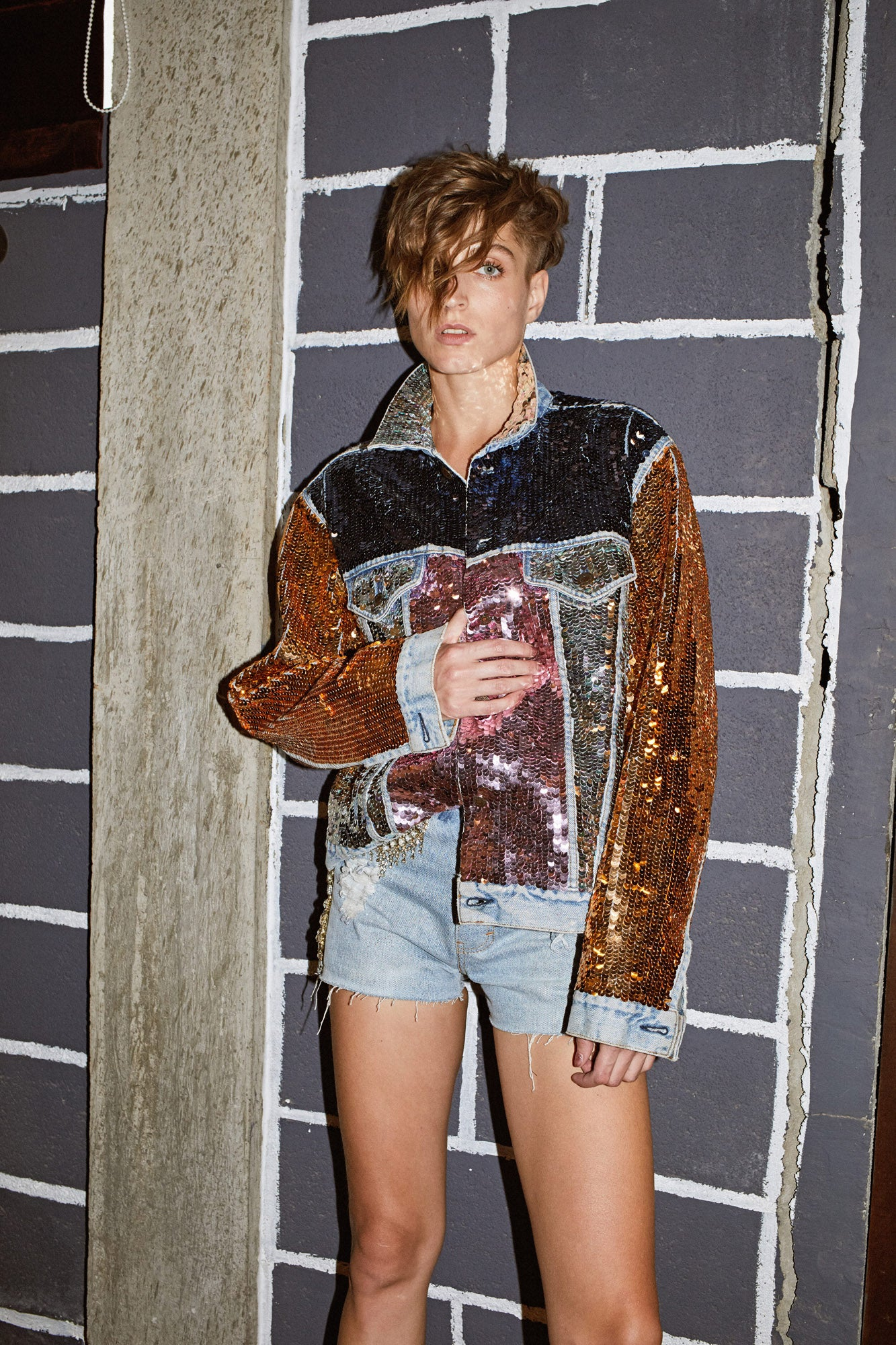 Multicolor Sequin Denim Jacket