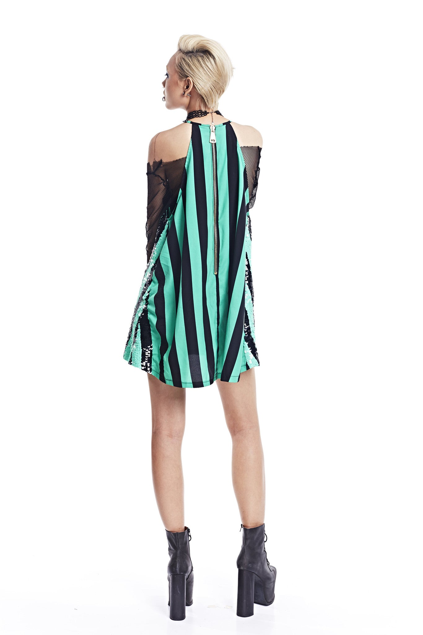 Striped Dress - Green - I LOVE DIY by Panida