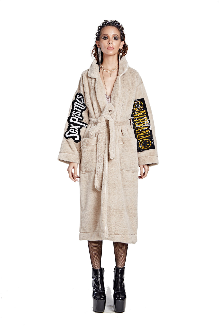 Patched Fur Bath Robe - Tan - I LOVE DIY by Panida