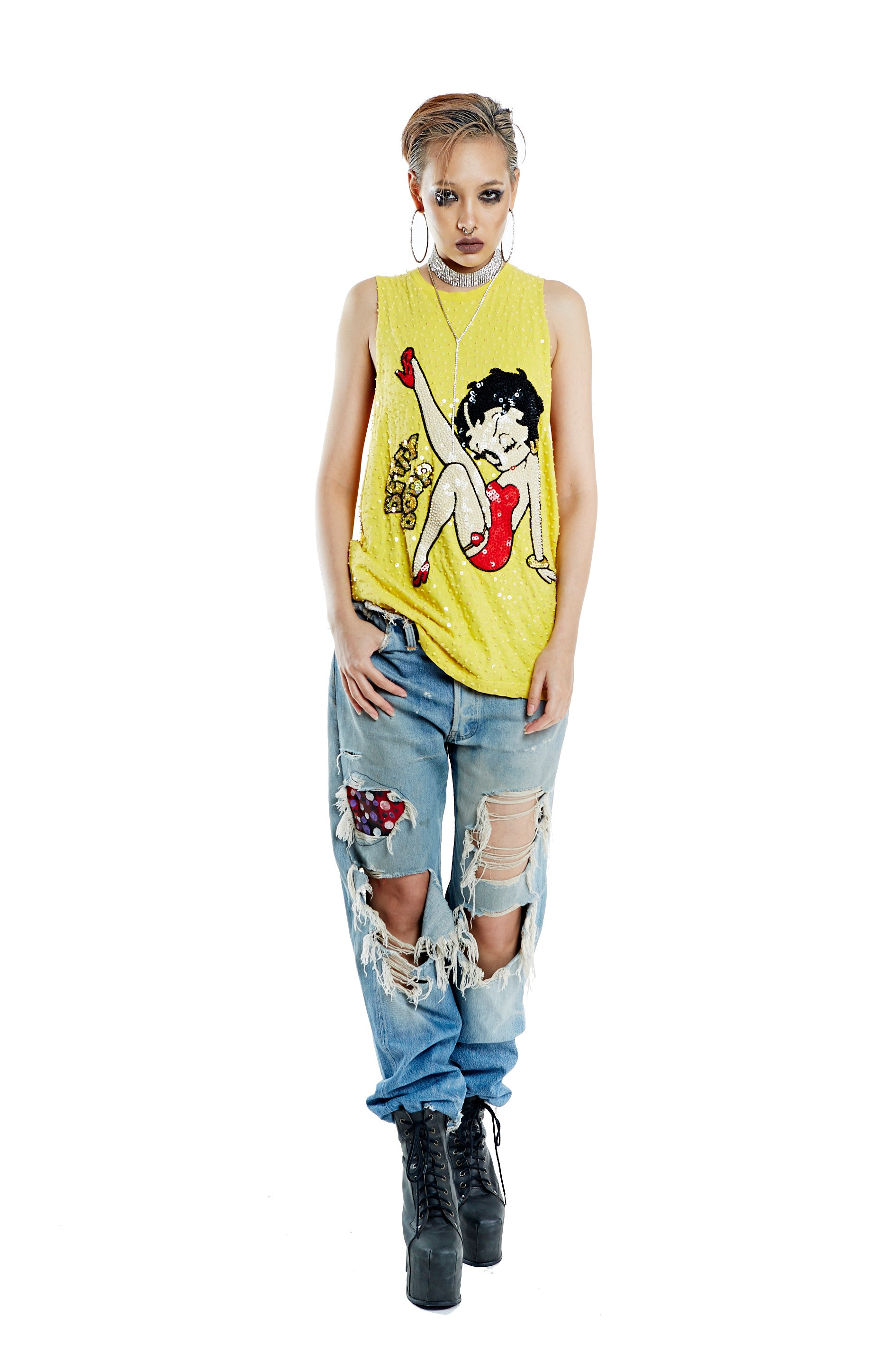 Betty Boop Tank - Yellow - I LOVE DIY by Panida