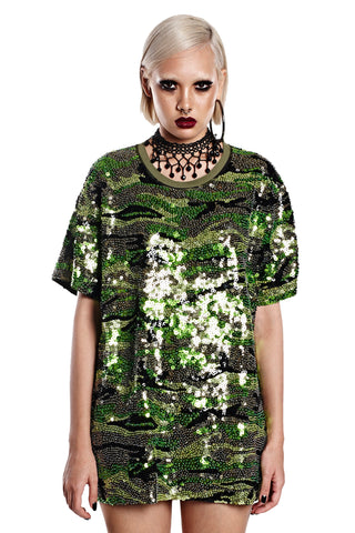 Flower Power Button Up - Army Green