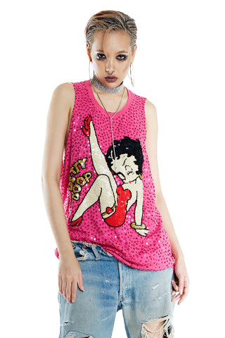 Betty Boop Tank - Pink - I LOVE DIY by Panida