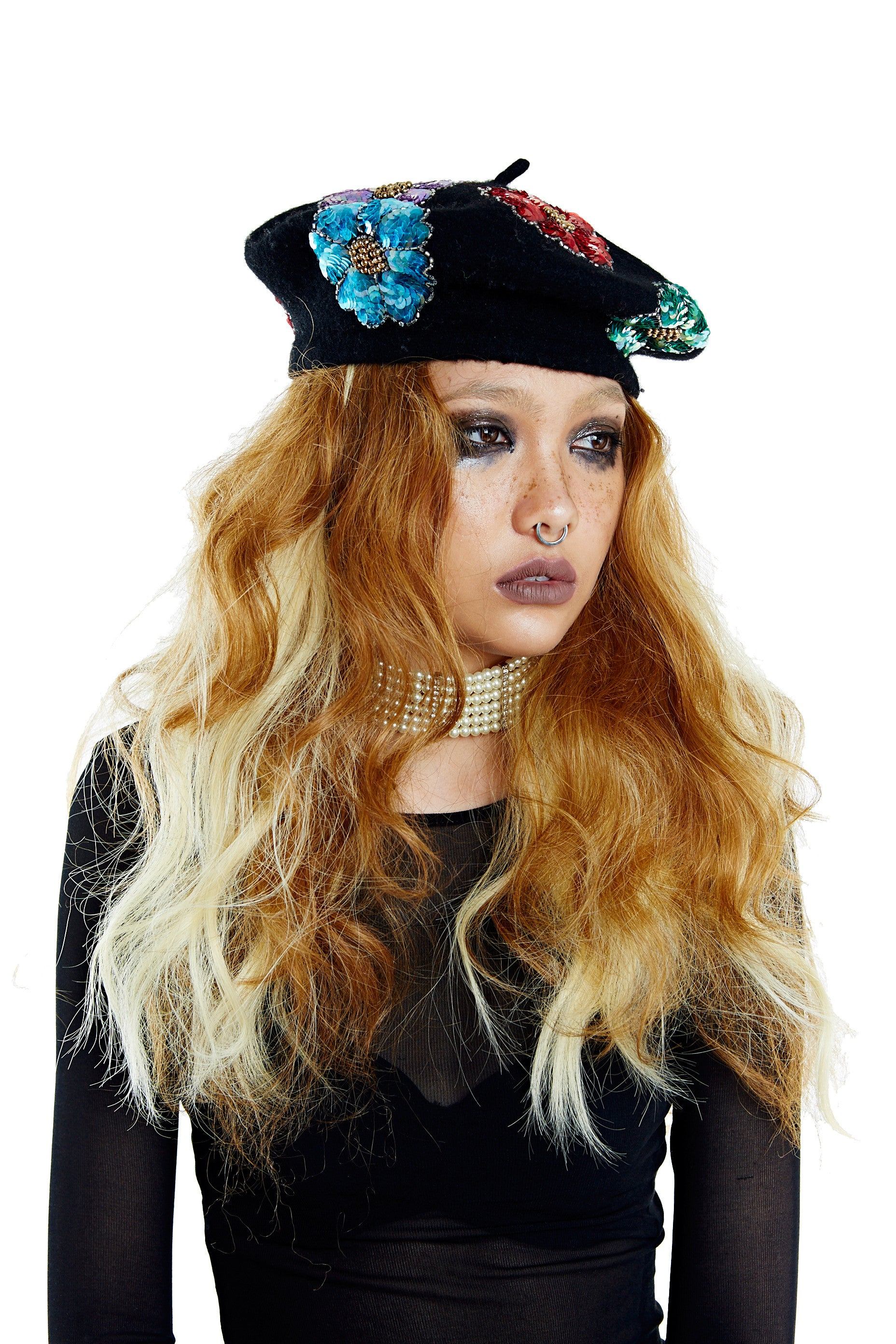 Flower Power Beret - Black
