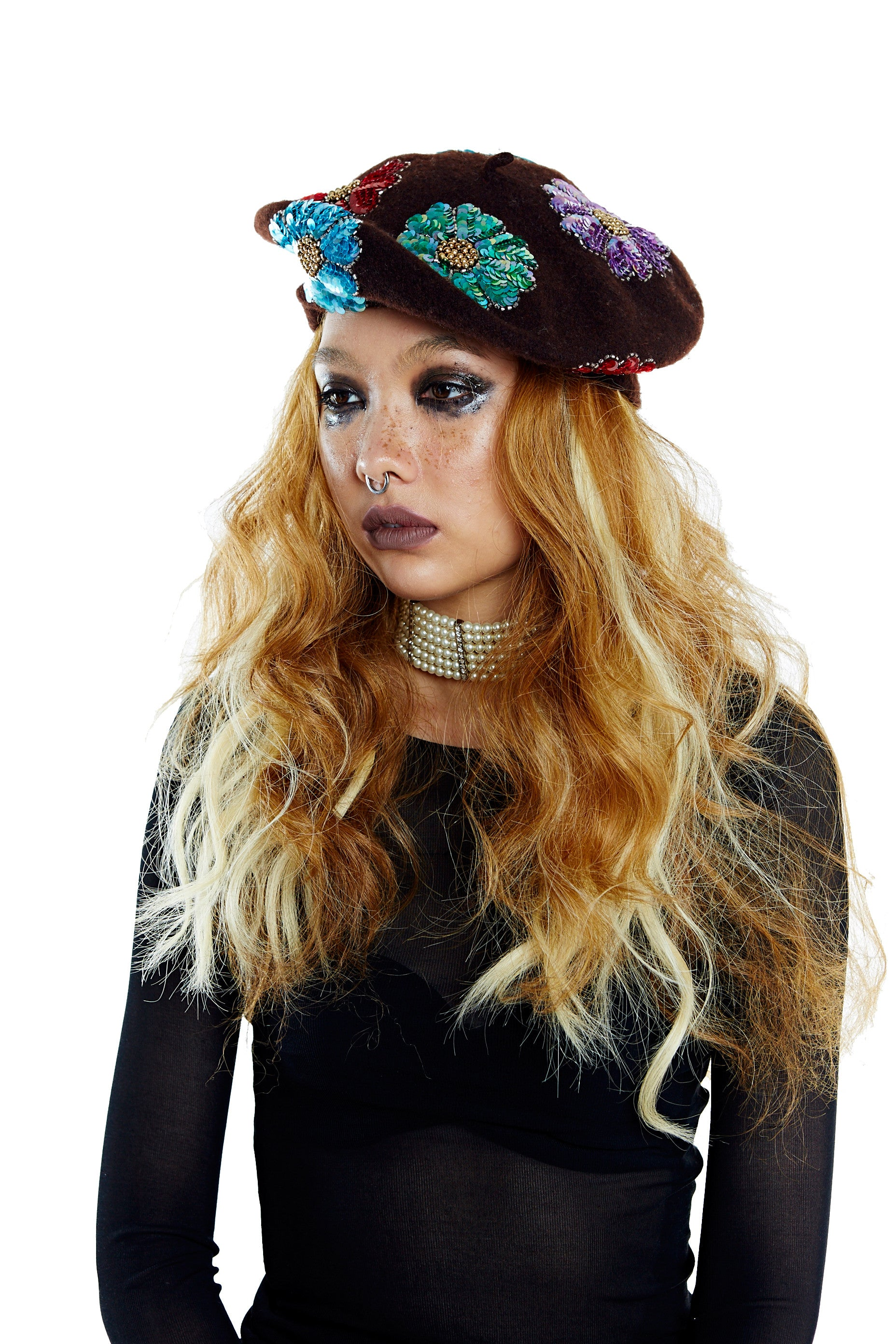 Flower Power Beret - Brown