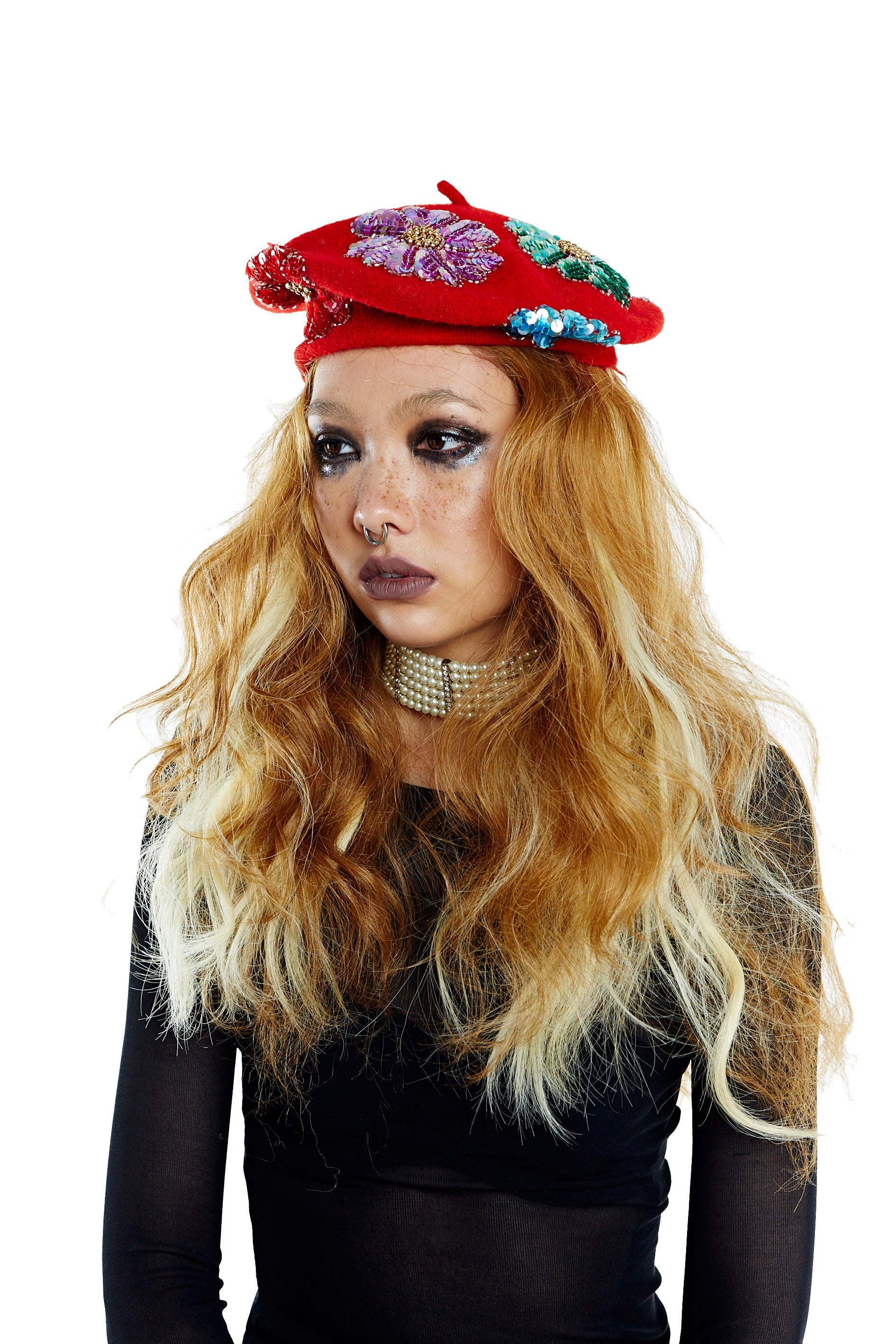 Flower Power Beret - Red