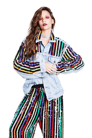 Midnight Rainbow Denim Jacket