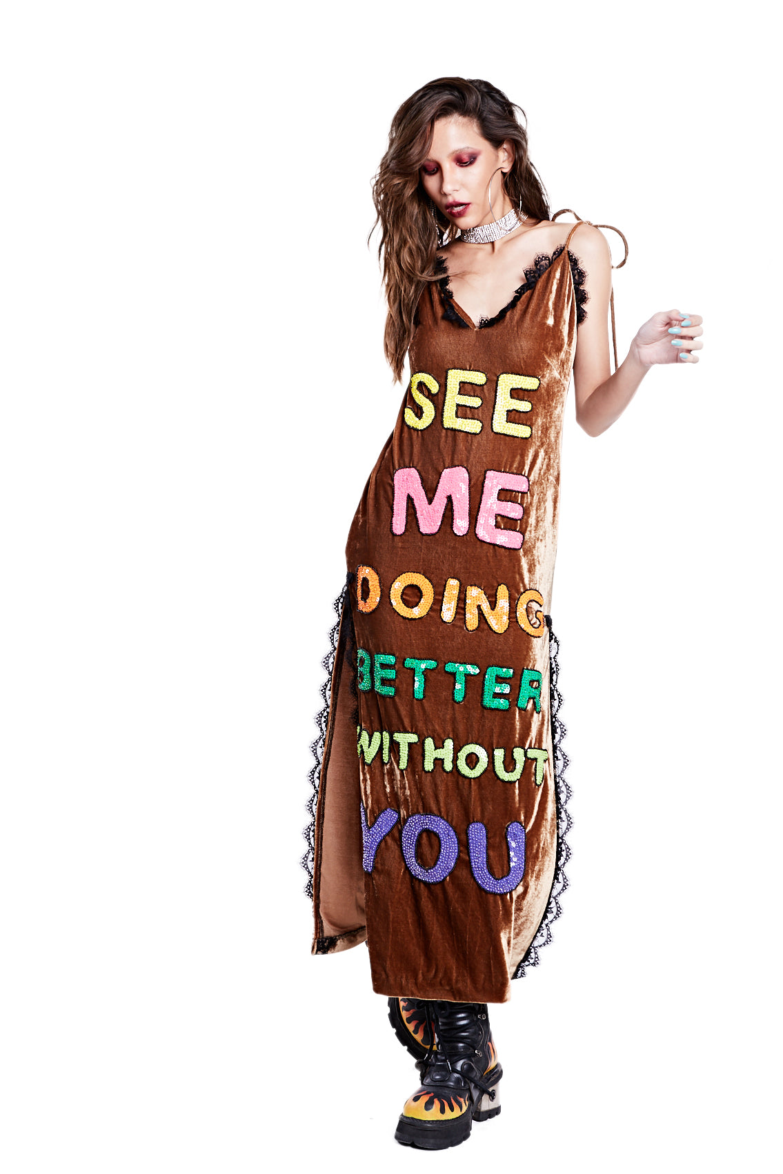 Better Without You Dress - Brown - I LOVE DIY by Panida