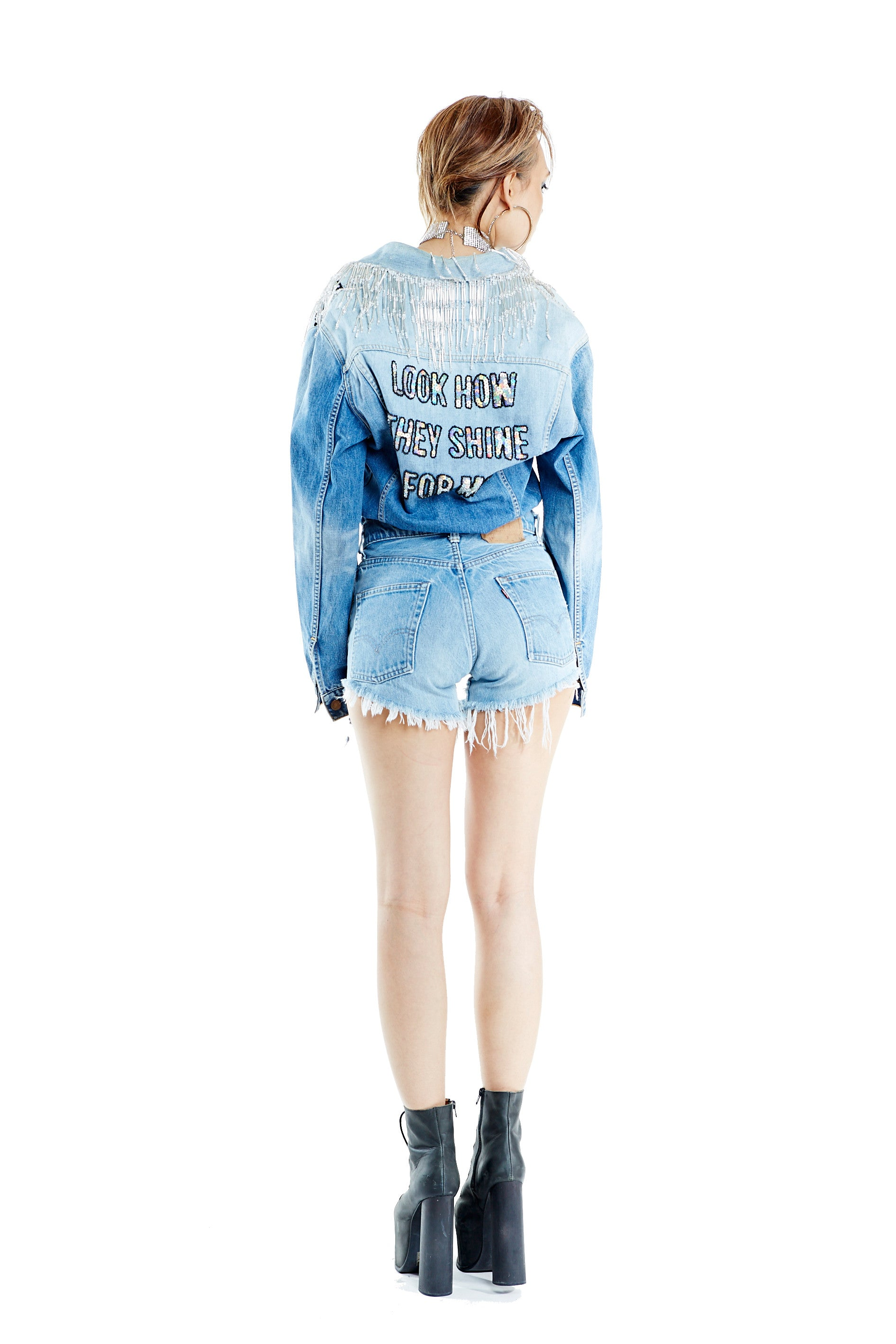 Shine for Me Short Denim Jumpsuit Preorder