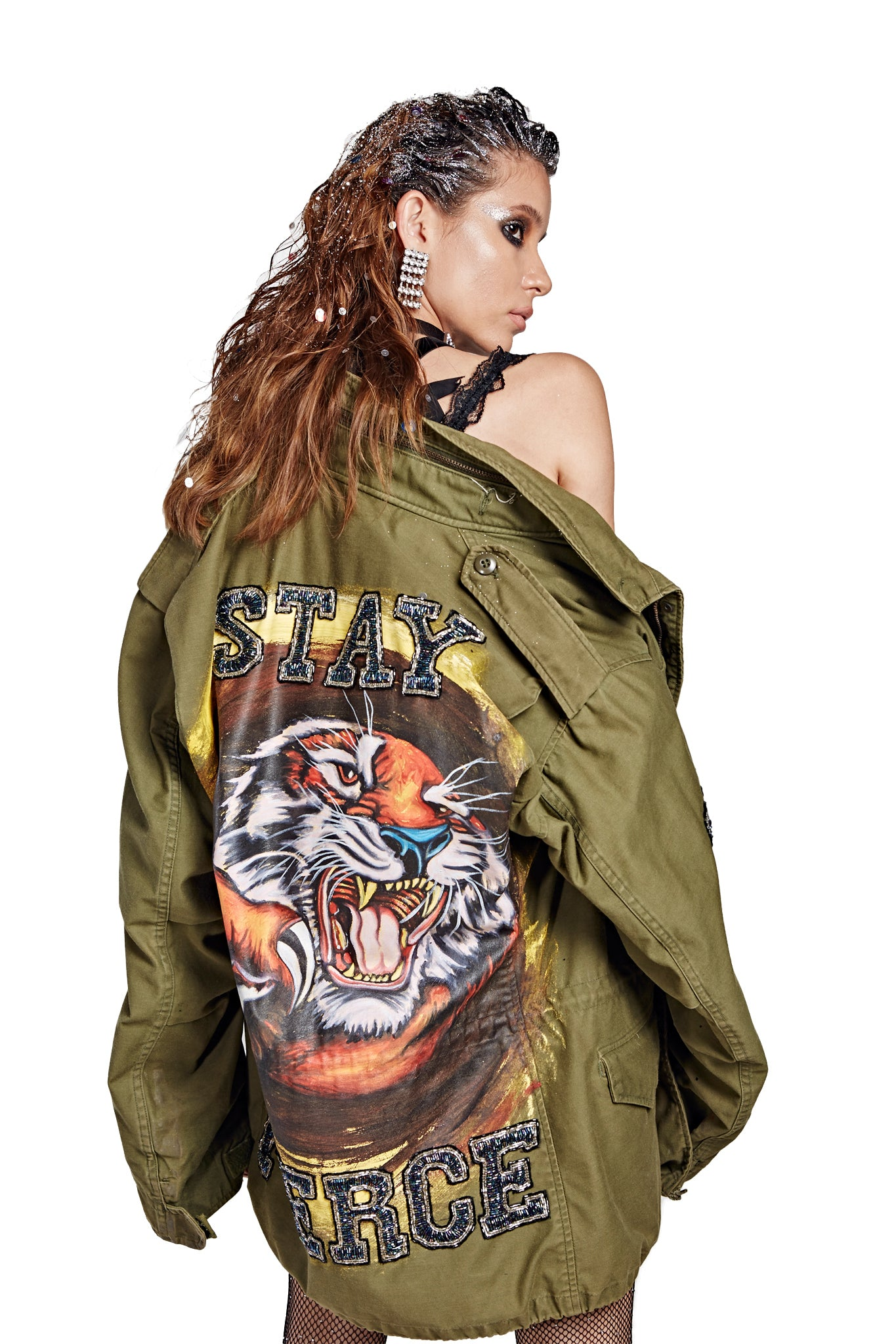 Stay Fierce Army Jacket - Green
