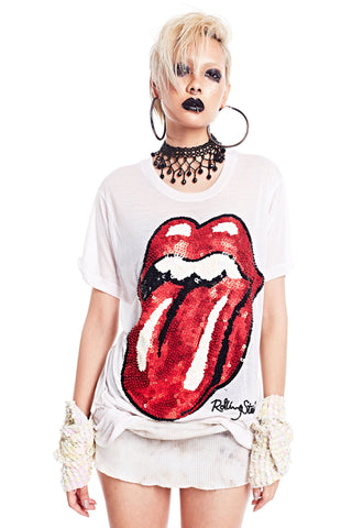 Rolling Stones Tongue Tee - White