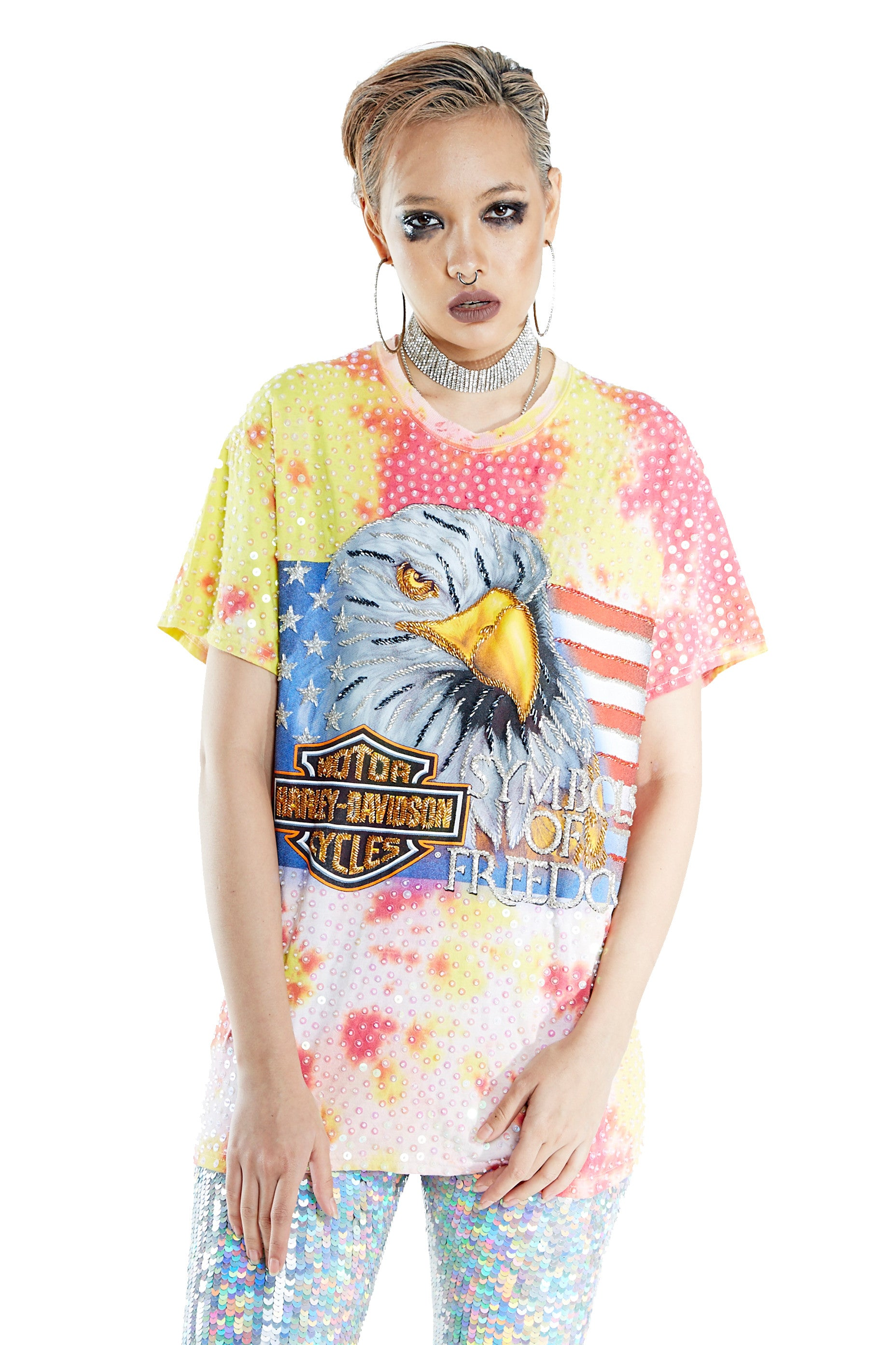 """Symbol of Freedom"" Tie-dye Thorn Tee - Pink & Yellow"