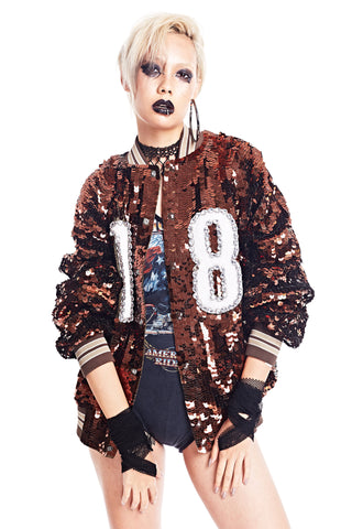 Varsity Jacket '18' Brown