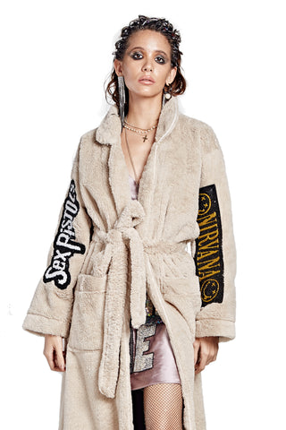Patched Fur Bath Robe - Tan