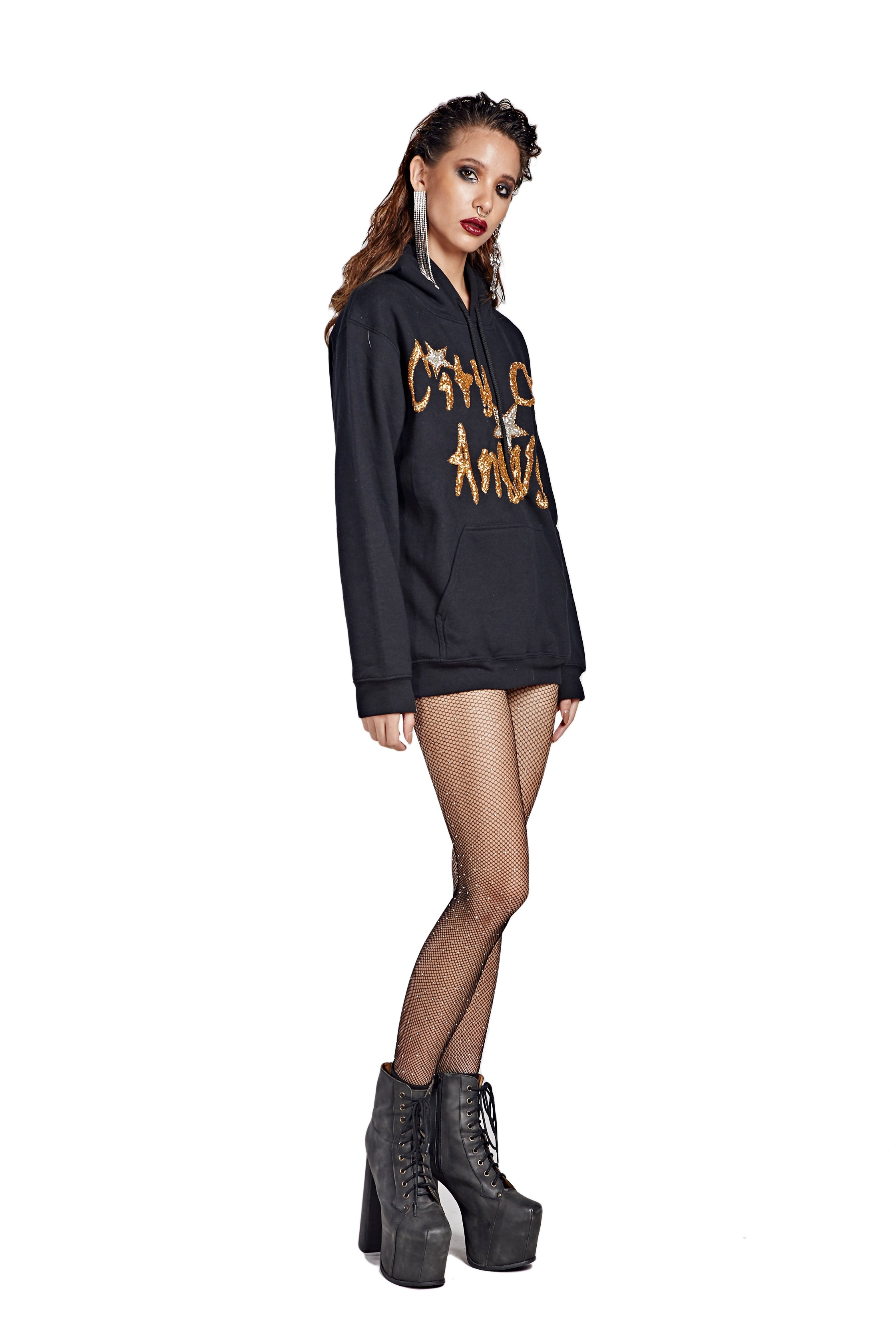 City of Angels Hoodie - Black with Gold Text - I LOVE DIY by Panida
