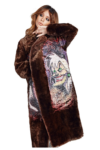 Villains Fur Coat - Dark Brown Long 2017 - I LOVE DIY by Panida
