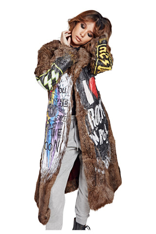 Punk Rock Fur Coat - Striped Brown 2017