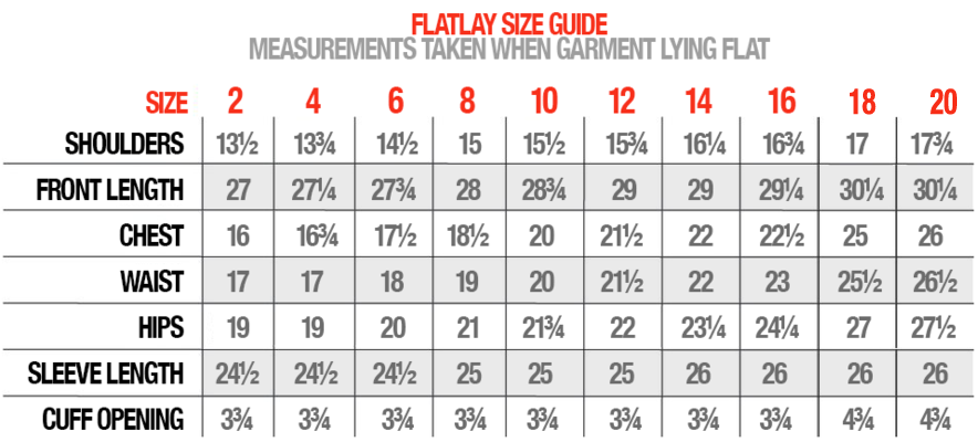 Flatlay size guide