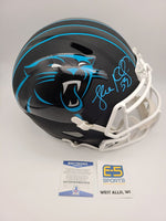 Luke Kuechly Panthers Signed Autographed Flat Black Replica Speed Helmet BECKETT