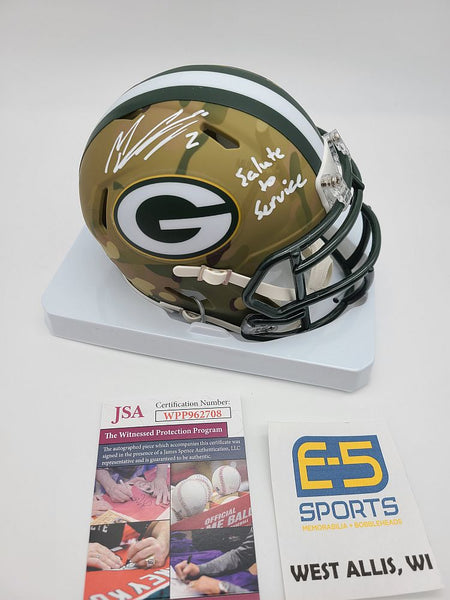 Mason Crosby Packers Signed Autographed Mini Speed Camo Helmet