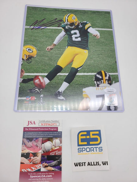 Mason Crosby Green Bay Packers Signed Autographed 8x10 Photo JSA SB 45