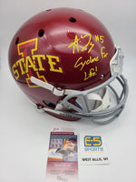 Allen Lazard Cyclones Packers Signed Autographed Full Size Replica Helmet