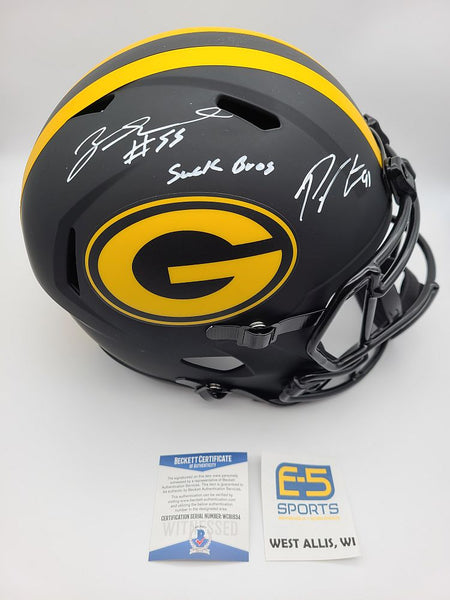 Preston Zadarius Smith Packers Dual Signed Autographed Eclipse Speed Helmet