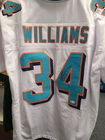 Ricky Williams Dolphins Signed Autographed White Custom Jersey JSA