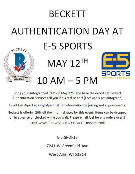 Beckett Authentication Day 5-12-21 at E-5 Sports