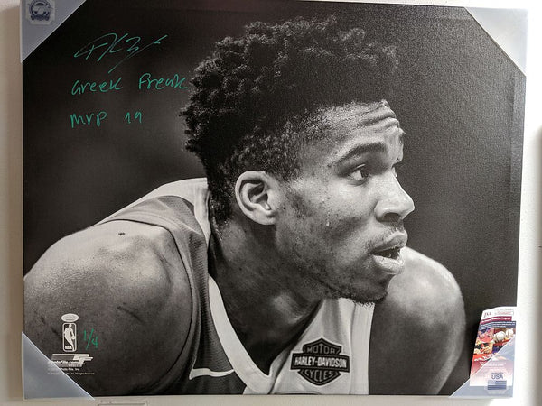 Giannis Antetokounmpo Milwaukee Bucks Signed Autographed 24x30 Canvas LE of 4