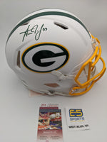 Aaron Jones Green Bay Packers Signed Autographed Flat White Authentic Speed Helmet JSA