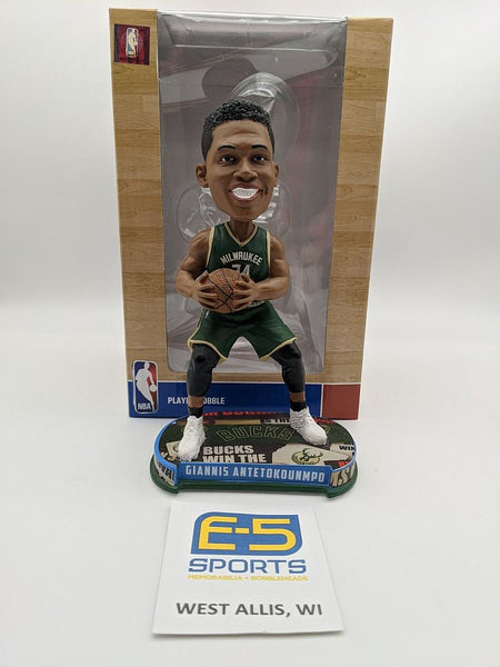 Giannis Antetokounmpo Bucks Retail Blue Bobblehead OG Box and Packaging