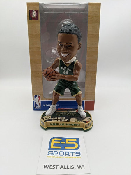 Giannis Antetokounmpo Bucks Retail Tan Bobblehead OG Box and Packaging