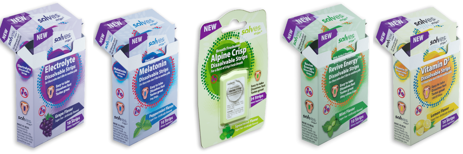 Solves Strips® launches oral film strips for Electrolytes, Melatonin and Vitamin D3