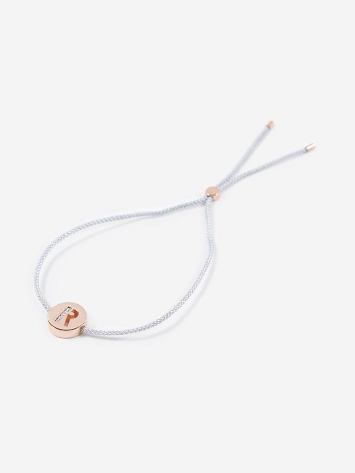 Ruifier Ruifier Grey Cord R Bracelet - Grey/Rose Gold - Gold