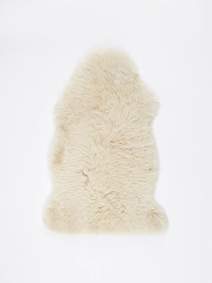 Natures Collection Natures Collection Long Wool Sheepskin Rug - Linen - White