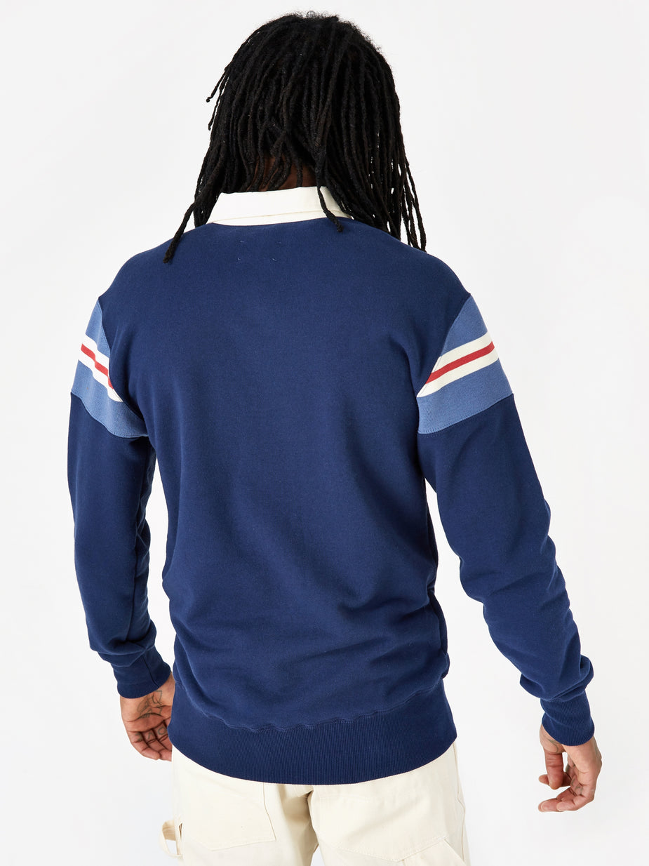 Aime Leon Dore Aime Leon Dore 17oz Terry Ribbed Shoulder Rugby Shirt - Flag Navy - Blue