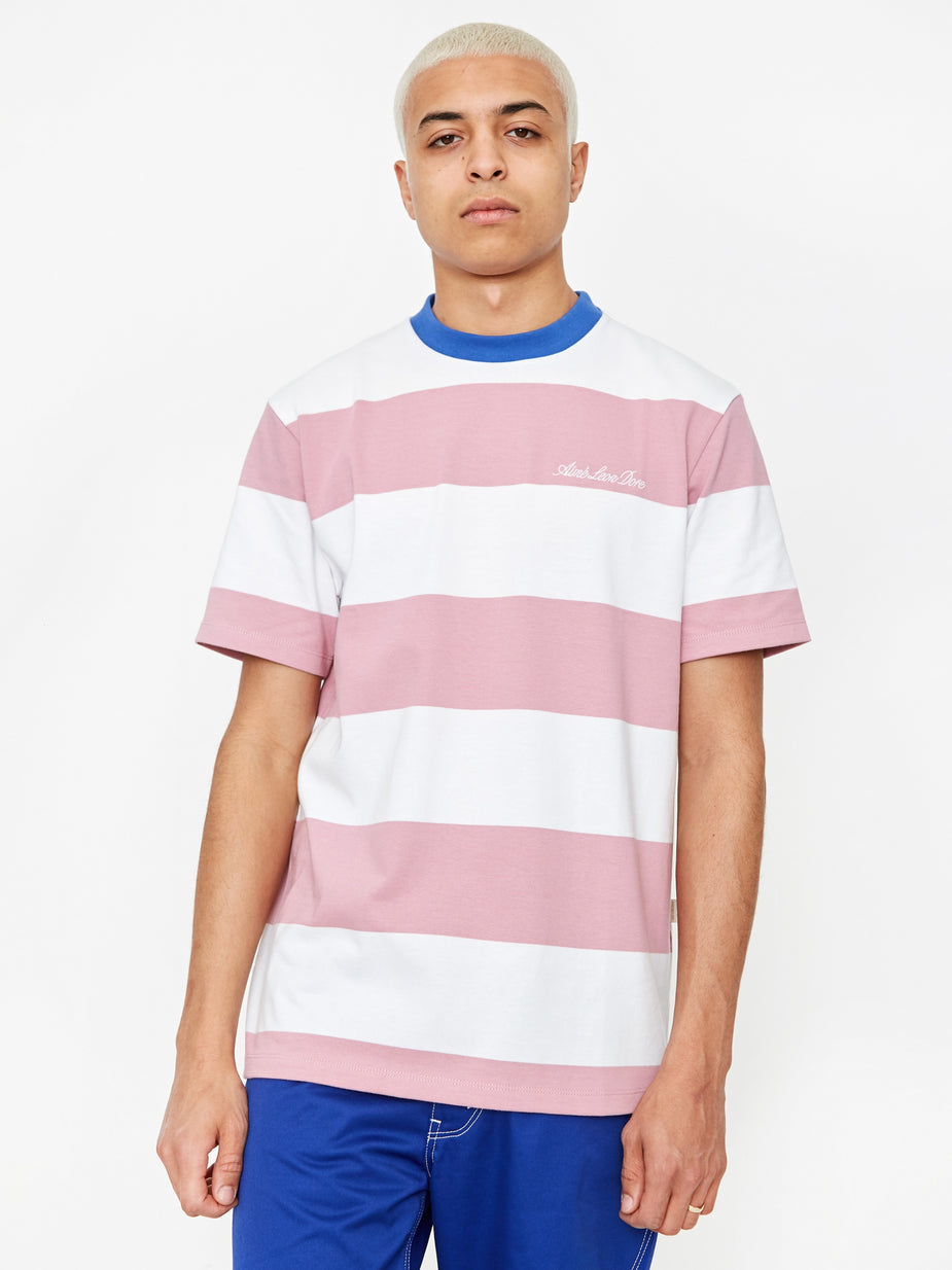 Aime Leon Dore Aime Leon Dore Thick Striped T-Shirt - Heather Rose/White - White